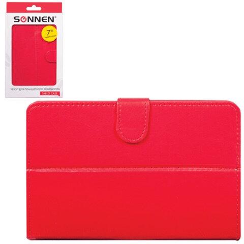 """Чехол-обложка для планшетного ПК универсальный 7"""" SONNEN, кожзаменитель, 200×135×25 мм, красный"""