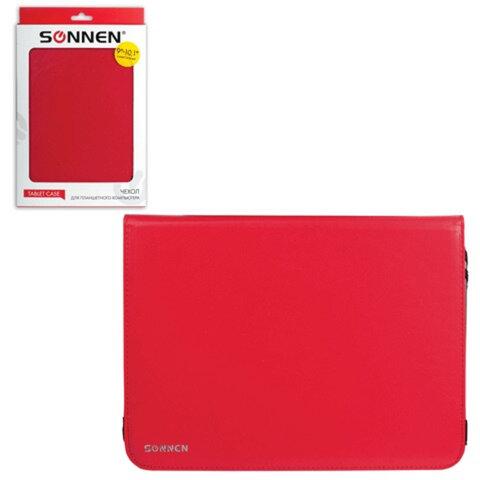 """Чехол-обложка для планшетного ПК универсальный 9""""-10,1"""" SONNEN, кожзаменитель, 275×190×25 мм, красный"""