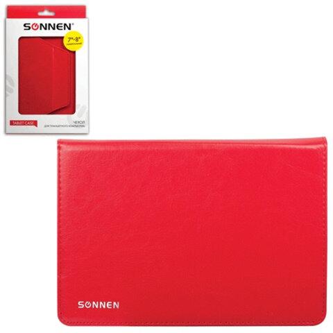 """Чехол-обложка для планшетного ПК универсальный 7""""-8"""" SONNEN, кожзаменитель, 210×170×25 мм, красный"""