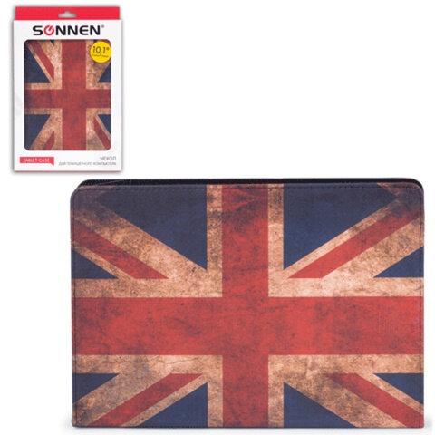 """Чехол-обложка для планшетного ПК универсальный 10,1"""" SONNEN, кожзаменитель, 275×190×25 мм, цветная печать, флаг"""