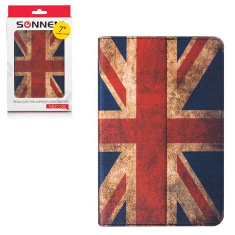 """Чехол-обложка для планшетного ПК универсальный 7"""" SONNEN, кожзаменитель, 200×135×25 мм, цветная печать, флаг"""
