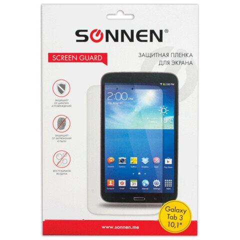 "Защитная пленка для Samsung Galaxy Tab 3 10.1"" SONNEN, против отпечатков пальцев, прозрачная, 352958"
