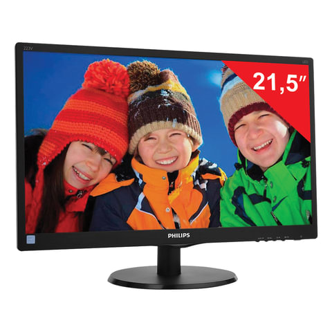 "Монитор LED 21,5"" (55 см) PHILIPS 223V5LSB2, 1920×1080, TN+film, 16:9, D-Sub, 200 cd, 5 ms, черный"