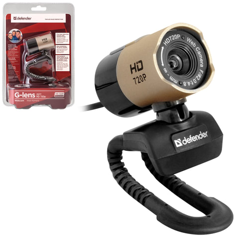 Веб-камера DEFENDER G-lens 2577 HD 720 p, 2 Мп, микрофон, USB2.0, регулируемое крепление, золотистая + черная