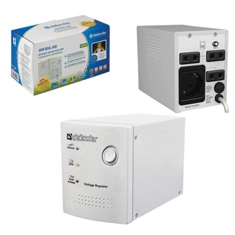 Стабилизатор напряжения DEFENDER AVR Real 1000, 500 Вт, входное напряжение 150-280 В, 4 розетки, серый