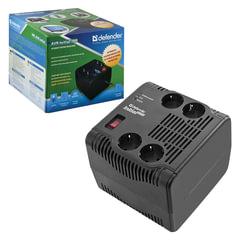 Стабилизатор напряжения DEFENDER AVR Initial 2000, 955 Вт, входное напряжение 175-285 В, 4 розетки, черный
