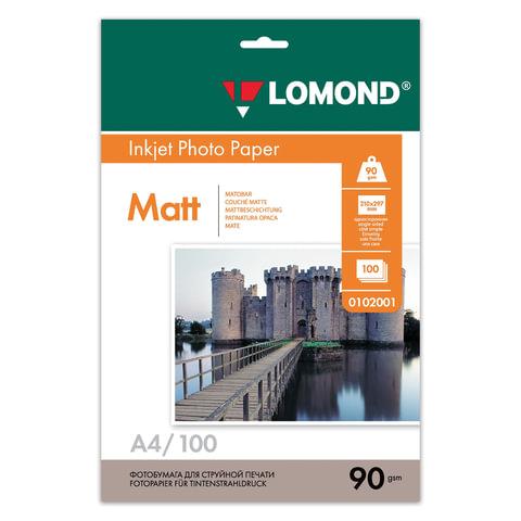 Фотобумага LOMOND для струйной печати, А4, 90 г/<wbr/>м<sup>2</sup>, 100 л., односторонняя, матовая, 0102001