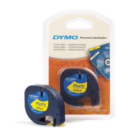 Картридж для принтеров этикеток DYMO Letra Tag, 12 мм х 4 м, лента пластиковая, желтая