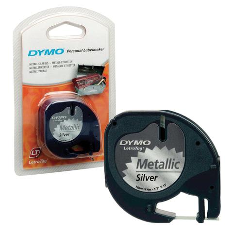 Картридж для принтеров этикеток DYMO Letra Tag, 12 мм х 4 м, лента пластиковая, серебристый металлик