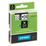 Картридж для принтеров этикеток DYMO D1, 9 мм х 7 м, лента пластиковая, чёрный шрифт, белый фон