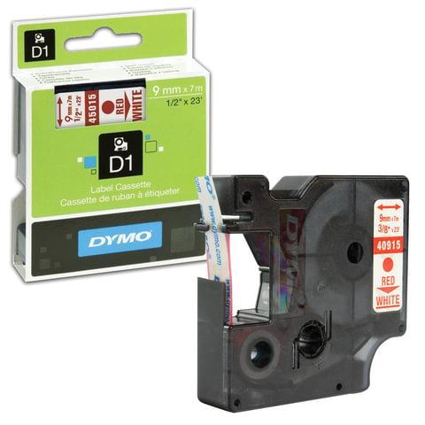 Картридж для принтеров этикеток DYMO D1, 9 мм х 7 м, лента пластиковая, красный шрифт, белый фон