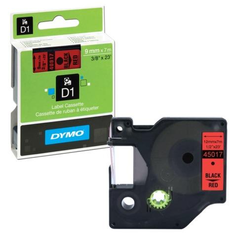 Картридж для принтеров этикеток DYMO D1, 9 мм х 7 м, лента пластиковая, чёрный шрифт, красный фон
