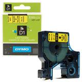 Картридж для принтеров этикеток DYMO D1, 9 мм х 7 м, лента пластиковая, чёрный шрифт, желтый фон