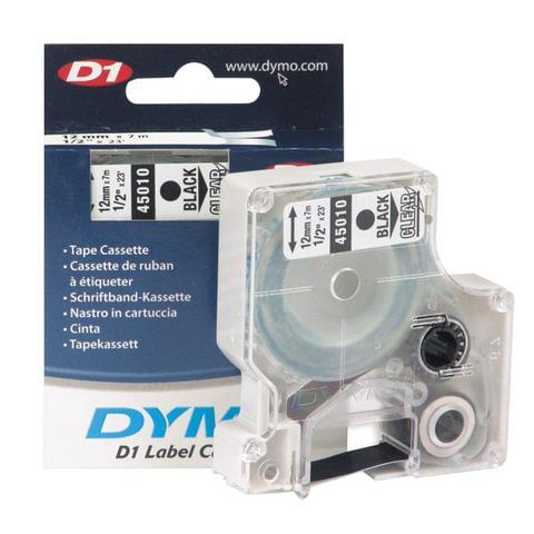 Картридж для принтеров этикеток DYMO D1, 12 мм х 7 м, лента пластиковая, чёрный шрифт, прозрачный фон