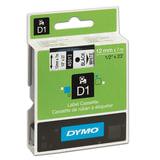Картридж для принтеров этикеток DYMO D1, 12 мм х 7 м, лента пластиковая, чёрный шрифт, белый фон