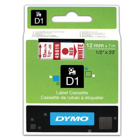 Картридж для принтеров этикеток DYMO D1, 12 мм х 7 м, лента пластиковая, красный шрифт, белый фон