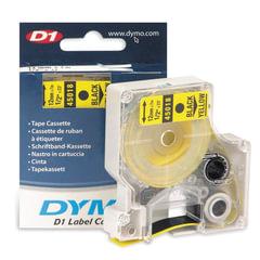 Картридж для принтеров этикеток DYMO D1, 12 мм х 7 м, лента пластиковая, чёрный шрифт, желтый фон
