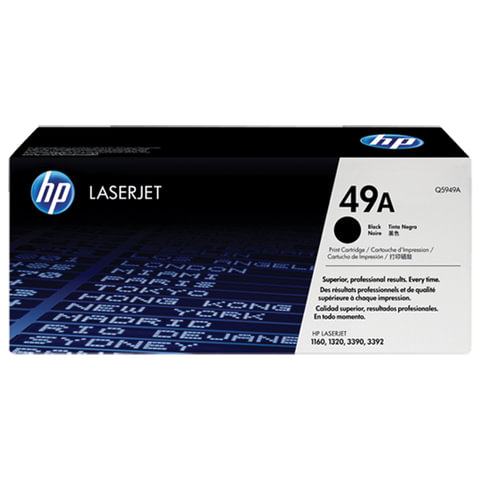 Картридж лазерный HP (Q5949A) LaserJet 1160/1320/3390 и другие, №49А, оригинальный, ресурс 2500 стр.