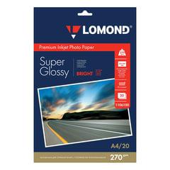 Фотобумага LOMOND Super Glossy для струйной печати, A4, 270 г/<wbr/>м<sup>2</sup>, 20 л., односторонняя глянцевая, 1106100