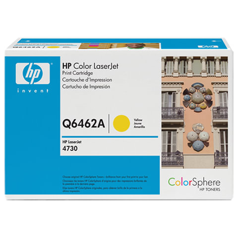 Картридж лазерный HP (Q6462A) ColorLaserJet CM4730, желтый, оригинальный, ресурс 12000 стр.