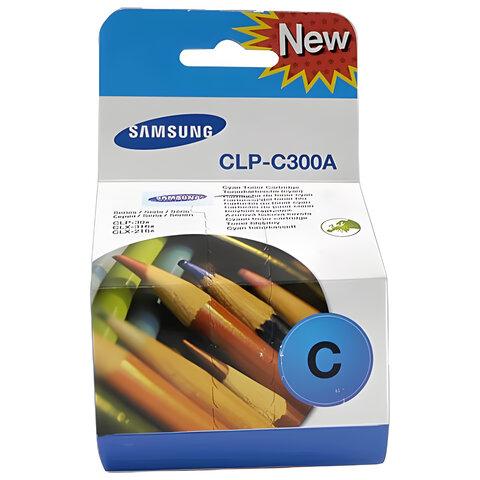 Картридж лазерный SAMSUNG (CLP-C300A) CLP-300 и другие, оригинальный, голубой, ресурс 1000 стр.