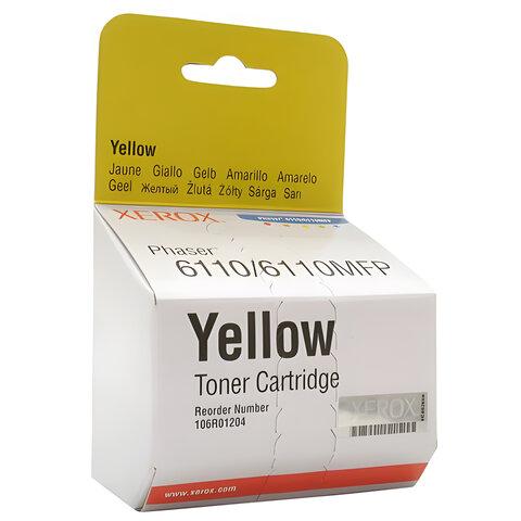 Картридж лазерный XEROX (106R01204) Phaser 6110, желтый, оригинальный, ресурс 1000 стр.