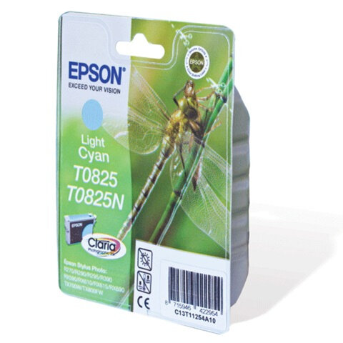 Картридж струйный EPSON (C13T08254A10) Stylus TX650/T50/R270/R390/ RX590, светло-голубой, оригинальный