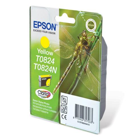 Картридж струйный EPSON (C13T08244A10) Stylus TX650/T50/R270/R390/RX590, желтый, оригинальный