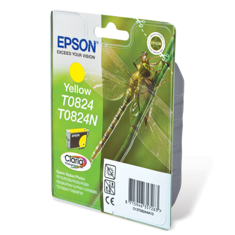 Картридж струйный EPSON (C13T08244A10) Stylus TX650/<wbr/>T50/<wbr/>R270/<wbr/>R390/<wbr/>RX590, желтый, оригинальный