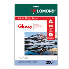 Фотобумага LOMOND для струйной печати, А3, 200 г/<wbr/>м<sup>2</sup>, 50 л., односторонняя, глянцевая, 0102024