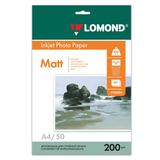 Фотобумага LOMOND для струйной печати, А4, 200 г/<wbr/>м<sup>2</sup>, 50 л., двухсторонняя, матовая