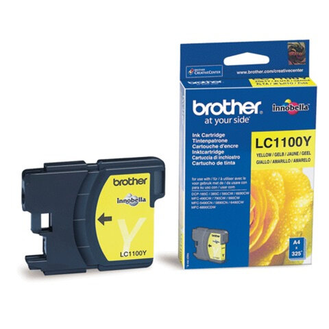 Картридж струйный BROTHER (LC-1100Y) DCP-6690CW/<wbr/>385C, MFC-990CW, желтый, оригинальный