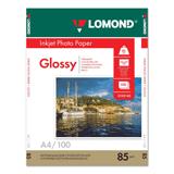 Фотобумага LOMOND для струйной печати А4, 85 г/<wbr/>м<sup>2</sup>, 100 л., односторонняя, глянцевая