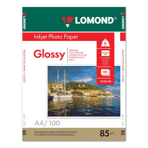 Фотобумага LOMOND для струйной печати А4, 85 г/<wbr/>м<sup>2</sup>, 100 л., односторонняя, глянцевая, 0102145