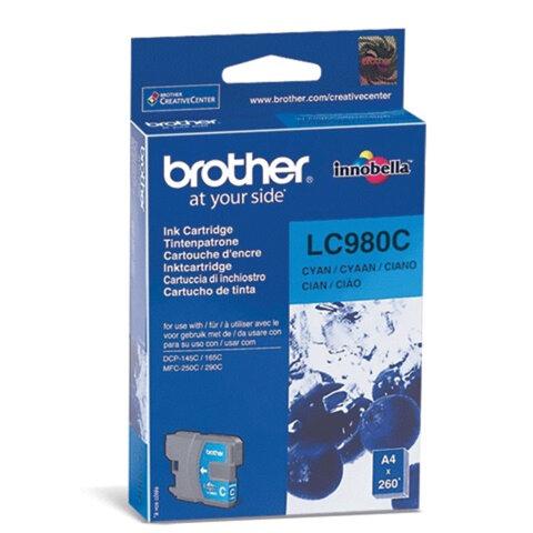 Картридж струйный BROTHER (LC980C) DCP-145C/<wbr/>165C/<wbr/>195C/<wbr/>375CW, голубой, оригинальный, ресурс 260 стр.