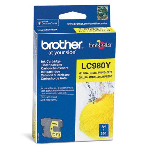 Картридж струйный BROTHER (LC980Y) DCP-145C/<wbr/>165C/<wbr/>195C/<wbr/>375CW, желтый, оригинальный, ресурс 260 стр.