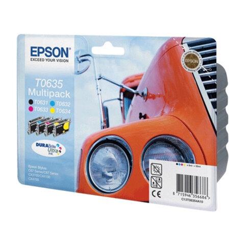 Картридж струйный EPSON (C13T06354A10) Stylus C67/<wbr/>C87/<wbr/>CX3700/<wbr/>CX4100/<wbr/>CX4700, комплект, ориг., 4 цвета