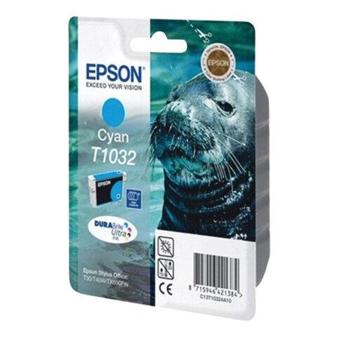 Картридж струйный EPSON (C13T10324A10) Stylus T30/T40W/TX510FN/TX600FW, голубой, оригинальный