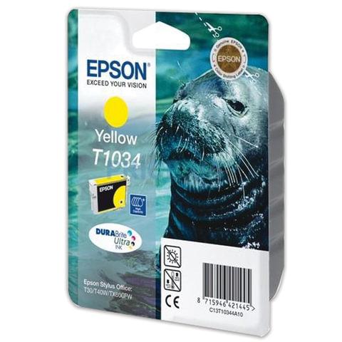 Картридж струйный EPSON (C13T10344A10) Stylus T30/T40W/TX510FN/TX600FW, желтый, оригинальный