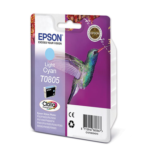 Картридж струйный EPSON (C13T08054011) Stylus P50/PX660/PX700W/RX685/ R360, светло-голубой, оригин.