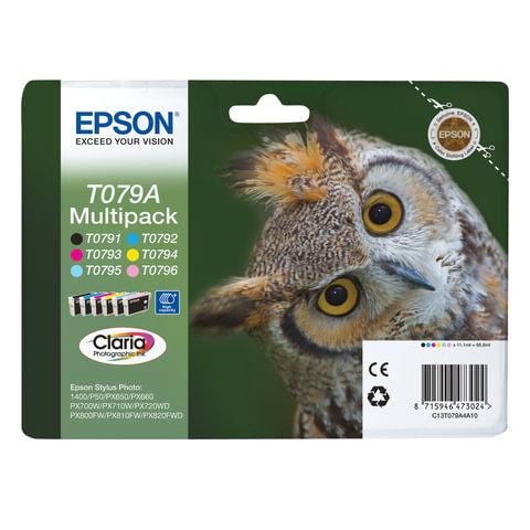 Картридж струйный EPSON (C13T079A4A10) Stylus P50/PX650/PX660, комплект, ориг., 6 цв., увелич. емк.