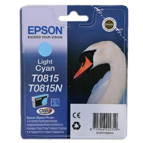 Картридж струйный EPSON (C13T11154A10) Stylus TX650/<wbr/>T50/<wbr/>R270/<wbr/>R390/<wbr/>RX590, светло-голубой, оригинальн.