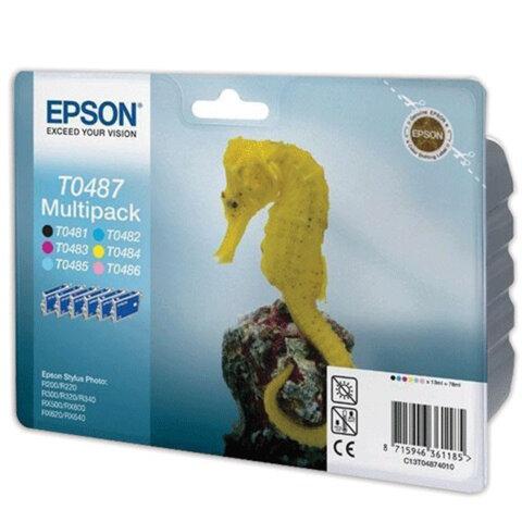 Картридж струйный EPSON (C13T04874010) Stylus R200/300/RX500/RX600, комплект, оригинальный, 6 цв.