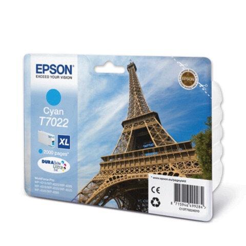 Картридж струйный EPSON (C13T70224010) WorkForce Pro WP4015/4025/4515/4525/4545, голубой, оригинал