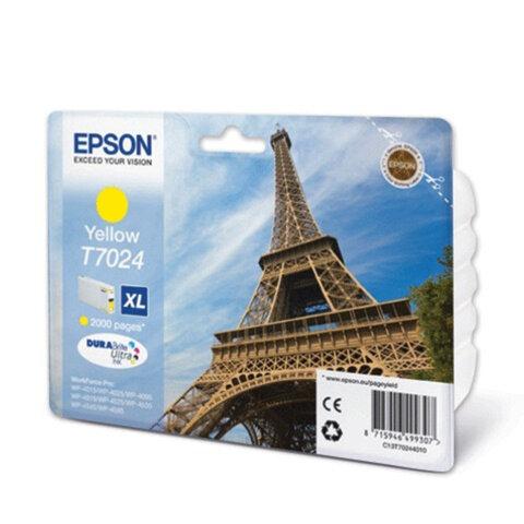 Картридж струйный EPSON (C13T70244010) WorkForce Pro WP4015/<wbr/>4025/<wbr/>4515/<wbr/>4525/<wbr/>4545, желтый, оригинальн.