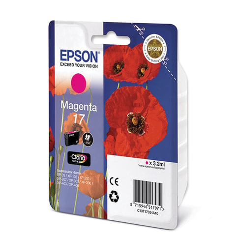 Картридж струйный EPSON (C13T17034A10) Expression Home XP-103/207/203, пурпурный, оригинальный