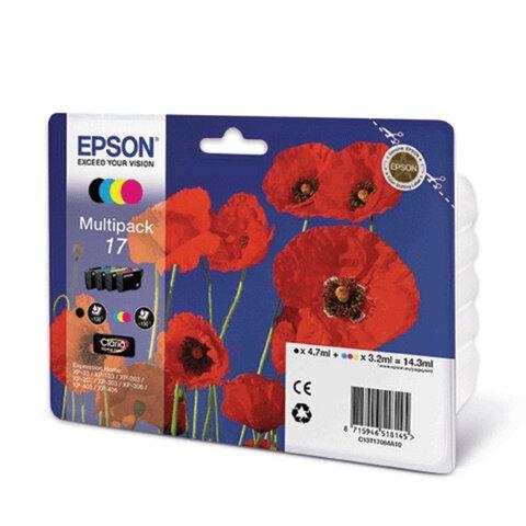 Картридж струйный EPSON (C13T17064A10) Expression Home XP-103/207/203, комплект, оригин., 4 цвета