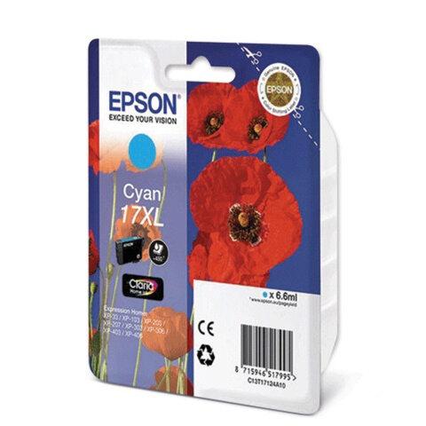 Картридж струйный EPSON (C13T17124A10) Expression Home XP-103/207/203, голубой, ориг., увелич. емк.