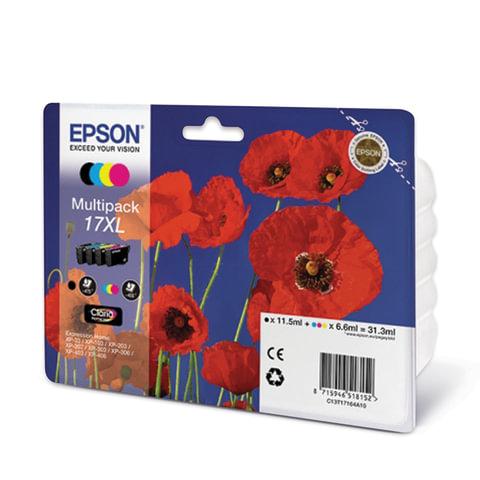 Картридж струйный EPSON (C13T17164A10) Expression Home XP-103/207/203, комплект, оригинал., 4 цвета