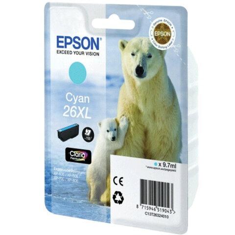 Картридж струйный EPSON (C13T26324010) Expression Premium XP-600/605/700/800, голубой, оригинальный